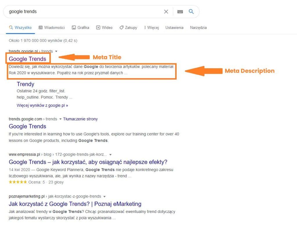 meta tagi w wynikach wyszukiwania